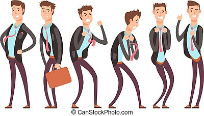 Businessman in different emotional states fear, anger, joy,...