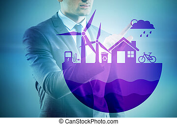 Businessman in ecological green concept