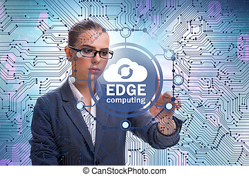 Businessman in edge and fog computing concept