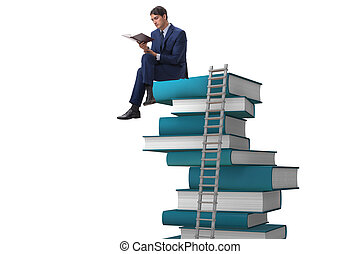 Businessman in education and learning concept