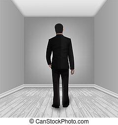 Businessman In Empty Room With Laminate Floor