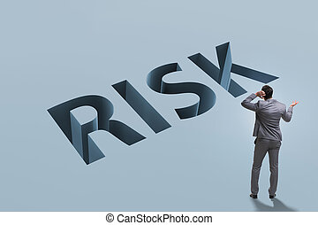 Businessman in financial risk business concept