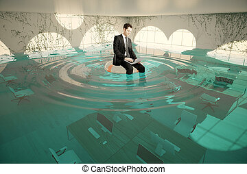 Businessman in flooded office - Businessman with laptop...