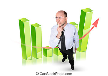 Businessman in front of a bar chart