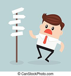 Businessman in front of a choice. Flat design.