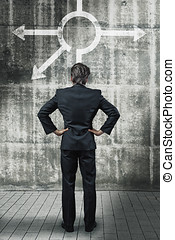businessman in front of a wall