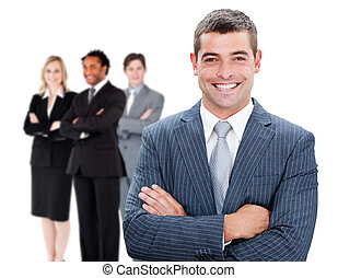 Businessman in front of colleagues