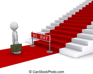 Businessman in front of stairs with no way sign - 3d...