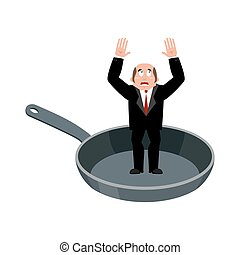 Businessman in frying pan. sinner in cauldron. boss is...