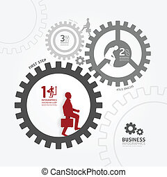 businessman in gear on white style template  / can be used for infographics graphic or website layout vector