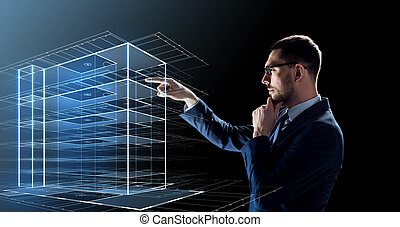 businessman in glasses with virtual building - business,...