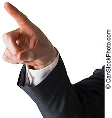 Businessman in grey suit pointing