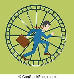 Businessman in hamster wheel. Hard work metaphor. Cartoon colorful vector illustration