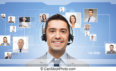 businessman in headset over contacts icons