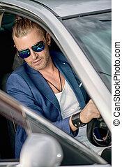 businessman in his car