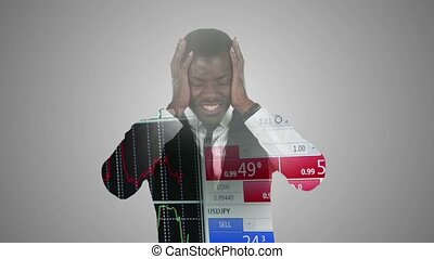 Businessman in horror at rise in prices in stock market double exposure over financial data graphs