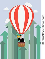 Businessman in hot air balloon against growing up arrows