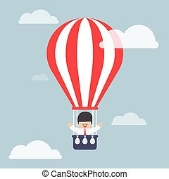 Businessman in hot air balloon