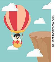 Businessman in hot air balloon fly