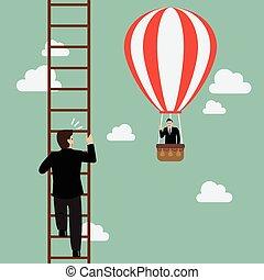 Businessman in hot air balloon fly pass businessman climbing the ladder