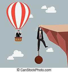 Businessman in hot air balloon fly pass businessman hold on the cliff with burden. Business concept