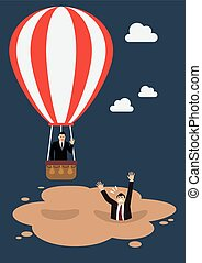 Businessman in hot air balloon get away from quicksand. Business concept