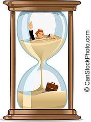 Businessman in hourglass. Deadline concept design