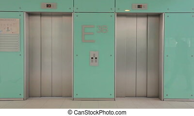 businessman in hurry missing elevator TWO TAKES