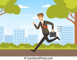 Businessman in Hurry Running with Briefcase Outdoors Vector Illustration
