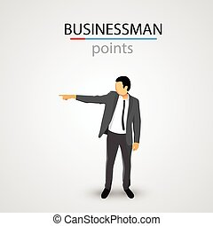 Businessman in jacket points. Vector illustration