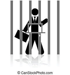 Concept illustration showing a businessman behind bars, in prison