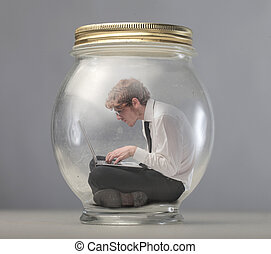 Businessman in jar - Businessman stuck in jar