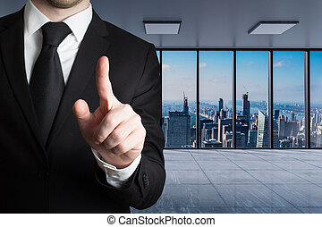 businessman in large modern office with skyline view pushing finger gesture, conceptual 3D Illustration