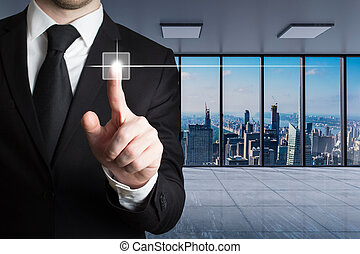 businessman in large modern office with skyline view pushing virtual touchscreen button with finger, conceptual 3D Illustration