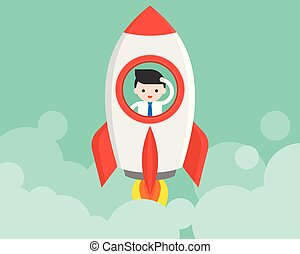 Businessman in launching rocket, start up concept