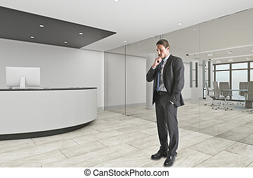Businessman in lobby