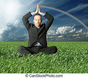 businessman in lotus pose in green grass