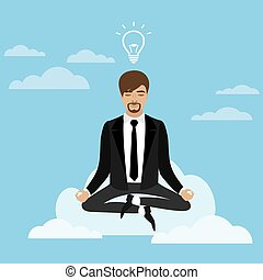 businessman in lotus position sitting on a cloud