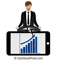 businessman in lotus position sitting on smartphone