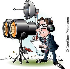 Vector cartoon illustration of a businessman in marketing looking through binoculars