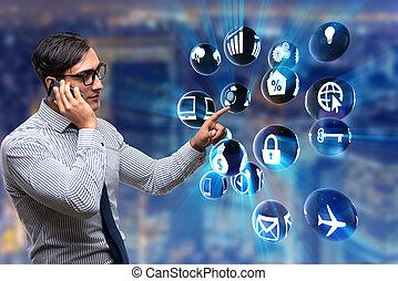 Businessman in modern business concept