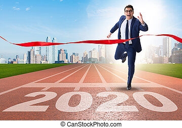 Businessman in new year 2020 concept