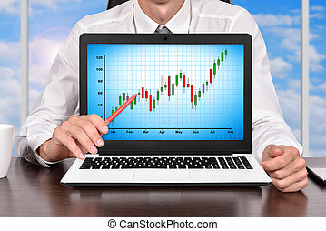 Laptop with Stock Chart - Businessman In Office and Laptop...