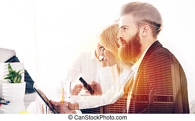 Businessman in office connected to internet network. concept...