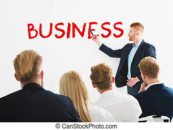 Businessman in office explain the business of the company at the training meeting