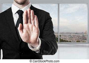 businessman in office hand stop gesture - businessman in...