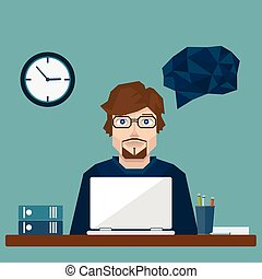 Businessman in office hard Working. vector