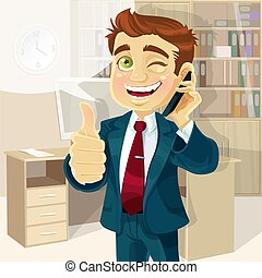Businessman in office reported news - Business man in office...