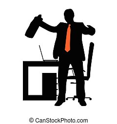 businessman in office silhouette illustration