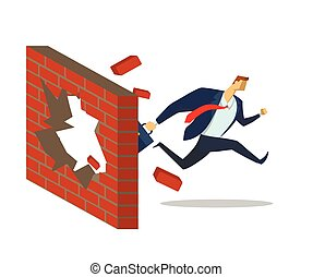 Businessman in office suit breaks through the brick wall as he runs to his goals. Achieving goals. Race for success. Hurry up. Concept flat vector illustration, isolated on white background.